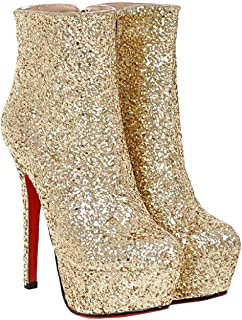 Female Boots The Night Shoes of The Tall Shoes of The Shoes are (Color : Gold, Size : 36EU)