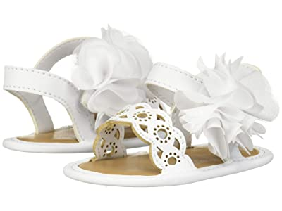 Baby Deer Sandal with Chiffon Flower Waddle (Infant) (White) Girls Shoes