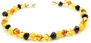 Genuine Baltic Amber Adult Anklet, Adjustable 7.5~9.5inches (19-24cm)