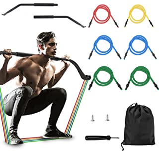 Adust Bow Portable Home Gym Resistance Bands Fitness Equipment System with 6 Resistance Bands,Full Body Workout Equipment