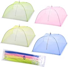 KACOOL Food Cover Tents - Set of 4 Mesh Food Covers Tent Umbrella for Outdoors, Screen Tents Protectors for Bugs, Parties Picnics, BBQs, Reusable and Collapsible - (Pink, Green, Blue, Yellow)