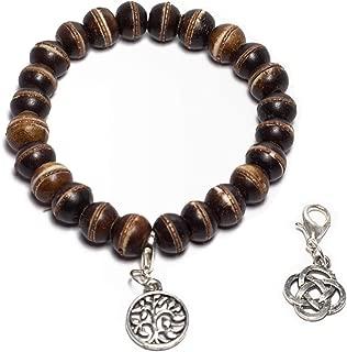 Handmade Tibetan Yak Bone Elastic Wrap Beaded Bracelet - Tibetan Charms, Cotton Bag & Gift Box Included - Perfect Meditation/Spiritual/Yoga Gift Set- Good for Chakra Healing, Reiki, Health & Wellness