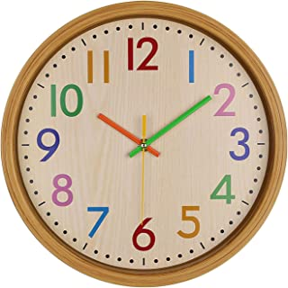 Silent Kids Wall Clock, 12 Inch Non-Ticking Battery Operated Colorful Decorative Wall Clock, Easy to Read, for Children Ro...