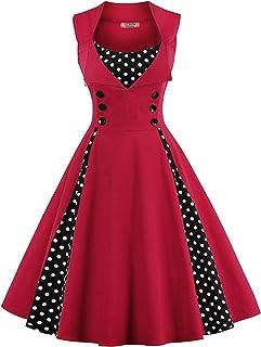 فساتين ACEVOG الكلاسيكية للنساء بقصة A Line مطوي في الخمسينيات من القرن العشرينيات فستان حفلات روكابيلي سوينج للحفلات كوكتيل