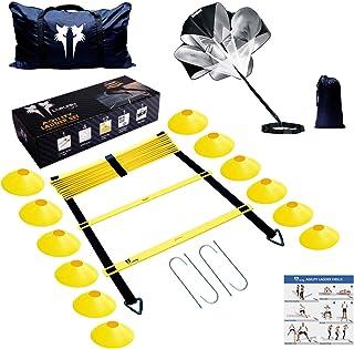 LYKAN FIT Agility Ladder Speed Parachute Speed Cones Training | تجهیزات تمرینی برتر برای افزایش سرعت و استقامت شما | کیت نهایی برای انواع ورزش ها برای بهبود هماهنگی کار در پا