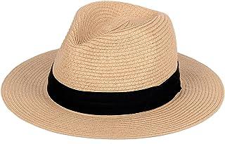 Straw Hat for Women Beach Hats Summer Sun Panama Wide Brim Floppy Fedora Cap UPF50