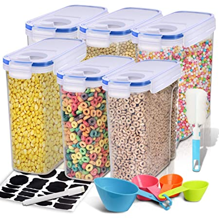 Snacks /& More for Cereal Sugar Plastic Storage Containers w//Lids Set of 3