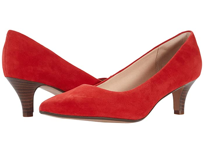 1950s Style Shoes | Heels, Flats, Boots Clarks Linvale Jerica Red Suede 2 Womens  Shoes $84.95 AT vintagedancer.com