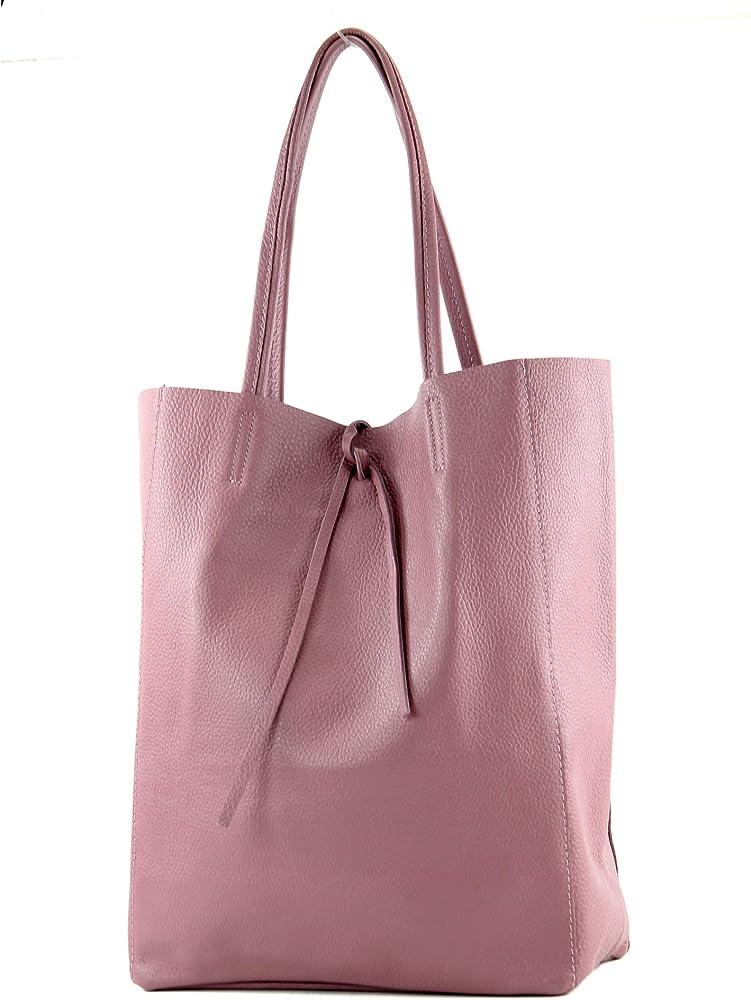 Modamoda de, borsa in pelle, shopper per donna a spalla, rosa antico T163ARO_afn