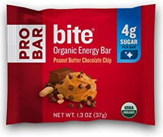 PROBAR - Bite Organic Energy Bar, Peanut Butter Chocolate Chip, Non-GMO, Gluten-Free, USDA Certified Organic, Healthy, Plant-Based Whole Food Ingredients, Natural Energy (12 Count) Packaging May Vary