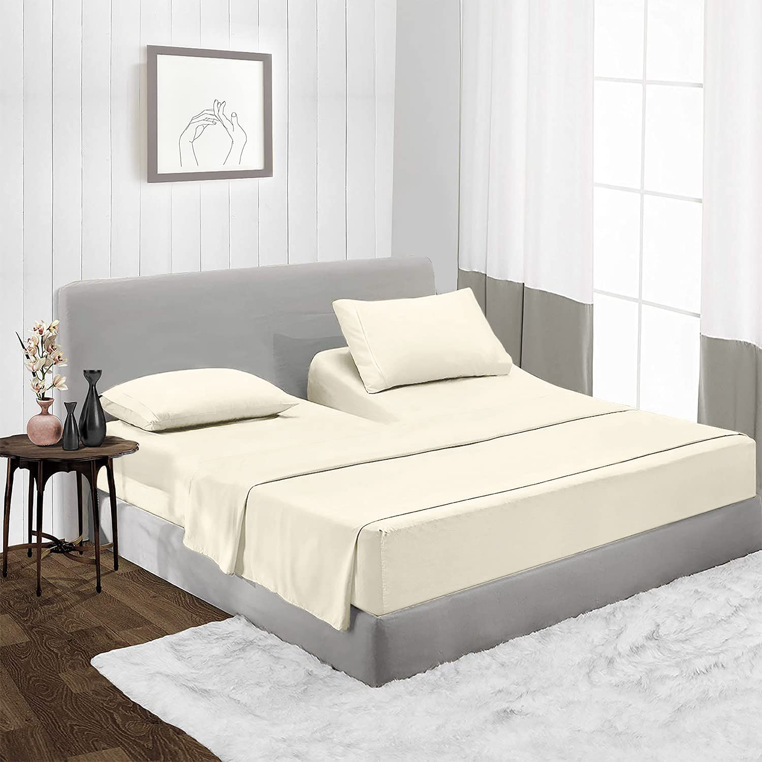 Soft 600 Thread Count Cotton Ivory Max Attention brand 54% OFF Sheet Split Lo 100% King Set