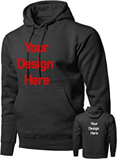 Custom Mens Sweatshirt Hoodie Personalized Pullover-Two Side Design-Add Photo/Text(Black/Cutton)