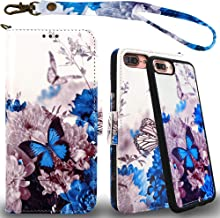 MEFON Detachable Leather Wallet Case, with Tempered Glass and Wrist Strap, Enhanced Magnetic Closure, Durable Slim, Luxury Flip Folio Cases for Apple iPhone 8 Plus, 7 Plus, 6S / 6 Plus (Butterfly 1)