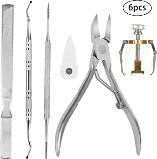 Ingrown Toenail Tool 6 in 1 Tools for Ingrown Toenails/Ingrown Toenail Clippers with Splash Protection Cover/Toenail File/Toenail Lifter/Ingrown Toes Nail Correction for im grown toe nail