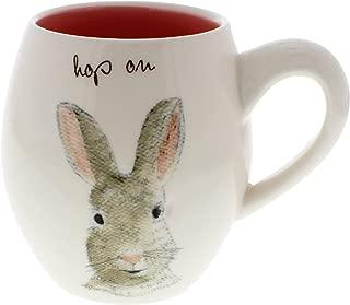 Rae Dunn by Magenta HOP ON Easter Bunny Coffee Mug Pink Interior