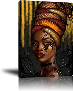 Premium Canvas Wall Art, Prints Sexy African Woman and Beautiful Headdress Decor Photo Paintings, Decorative Artwork for Bedroom Home Office Framed Ready to Hang 16