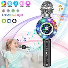 weird tails Wireless Karaoke Microphone, Handheld Bluetooth Microphone with Speaker and Light Echo Mic Portable Karaoke Player for Kid Adult Girl Home Party Singing Birthday Gift (Black)