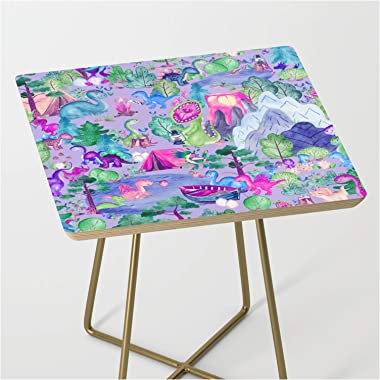 Watercolor Dinosaur Camping Kids Pink Purple by Sam Ann Designs on Side Table - Gold - Square