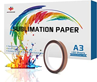 JANDJPACKAGING Sublimination Paper for Heat Transfer - 100 Sheets A3 Sublimation Paper for All Inkjet Printer with Sublima...