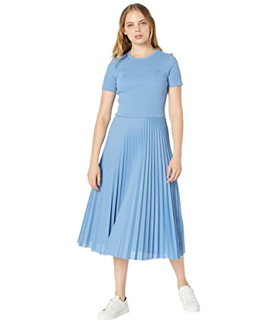 Lacoste Long Short Sleeve Tee On Top and Pleated Skirt Dress