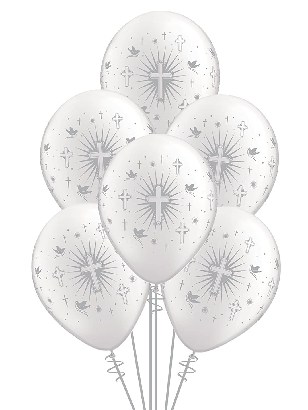 Qualatex Cross & Doves BiodegraQualatex Cross & Doves Biodegradable Latex Balloons, Pearl White with Silver Prints All-Around, 11-Inches (12-Units)