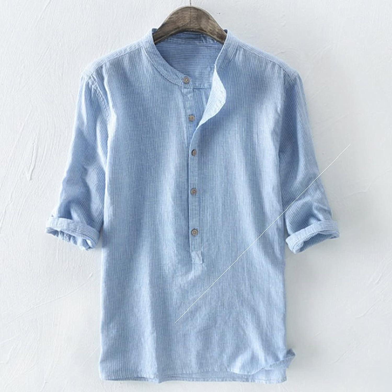 Men Henley Neck Linen Max 48% OFF Casual Direct sale of manufacturer Summer Button Plain Down 4 3 Shirt