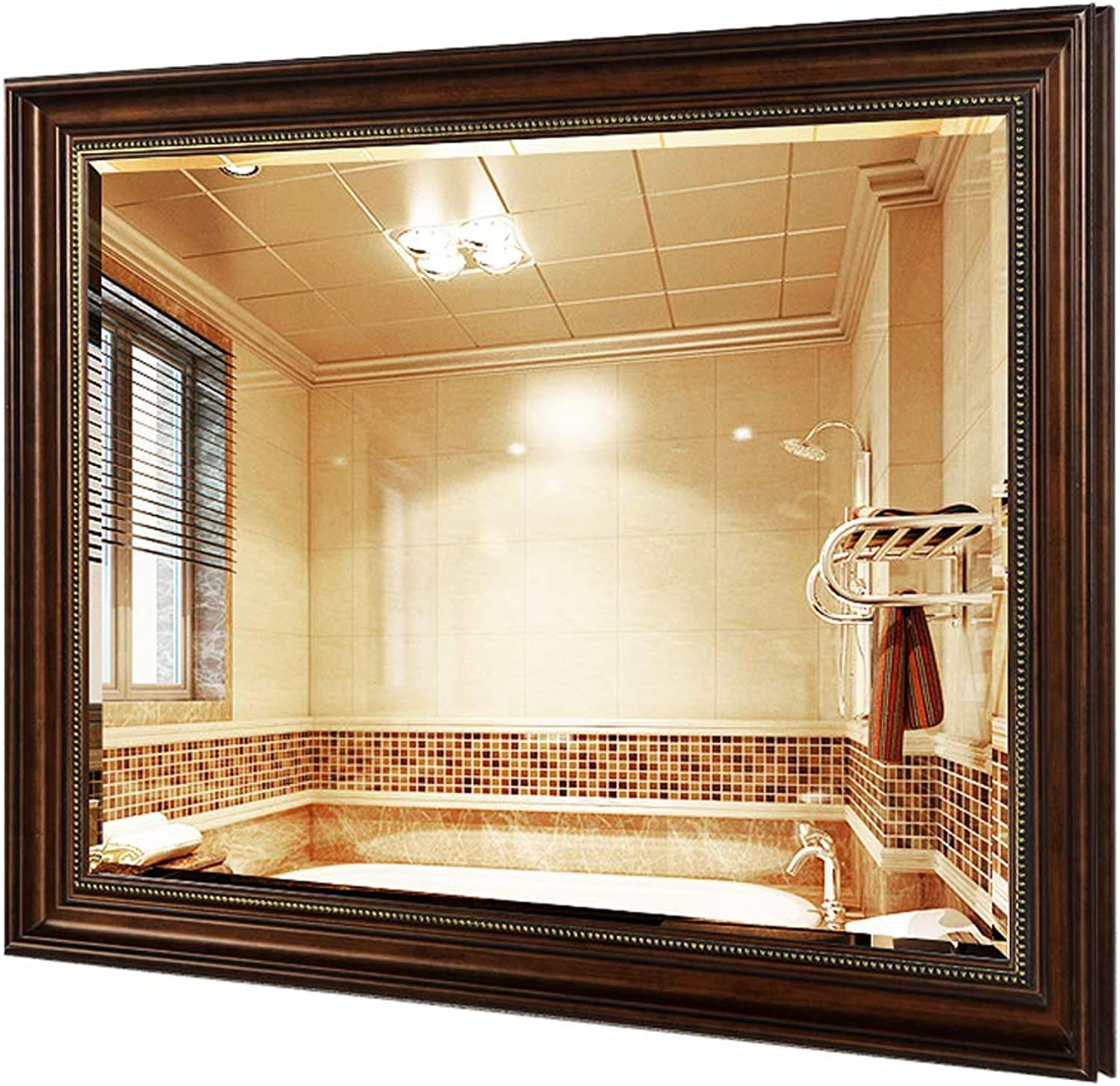 Mirror Makeup Bathroom Rectangle Retro Framed Wall Mounted Mirror Decorative Shower Shave Hang Mirror for Home Bedroom Living Room 60CM x 80CM(24Inch x 32Inch)