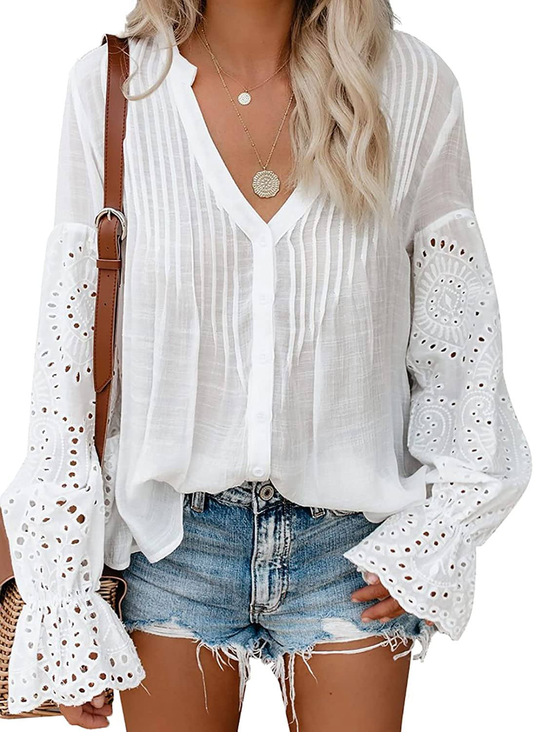 Biucly Womens Casual Solid V Neck Lace Crochet Button Down Bell Sleeve Shirts Tops Loose Blouses