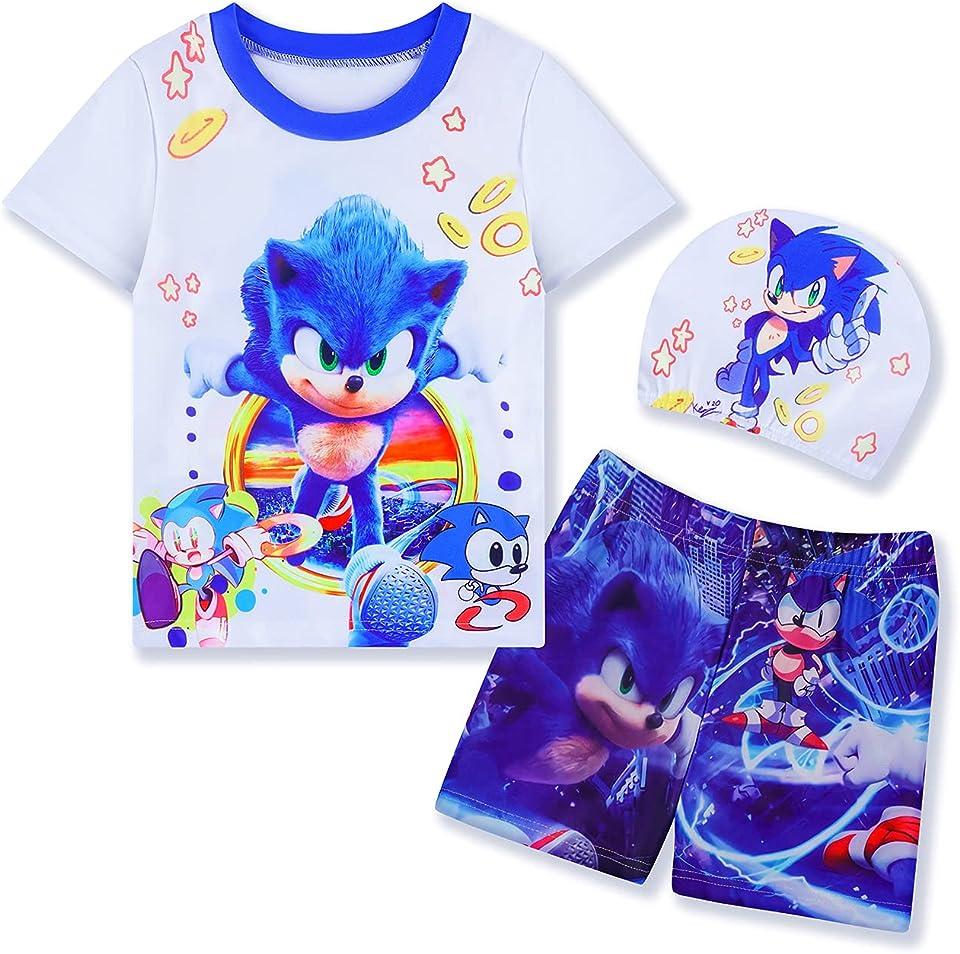 Toddler Boy Swim Trunks Set 2 Piece and Swimsuit Set Rashguard with Hat