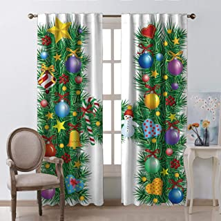 Letter H Window Curtains Christmas Decoration Uppercase Letter H Pine Tree Pattern with Celebration Theme Stars Image Multicolor Kids Room Living Room Dorm W63 xL63