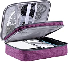 LIVACASA Bolsa de Viaje Cable Organizador Estuche para Eléctricas Accesesorios Impermeable Portatíl para Cables Cargador Bolsillo Púrpura