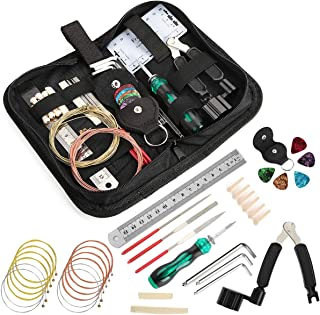 Guitar Tool Kit - Complete Guitar Repair and Setup Kit For Guitar Ukulele Bass Mandolin Banjo, Cleaning Maintenance Accessories Set with Convenient Case