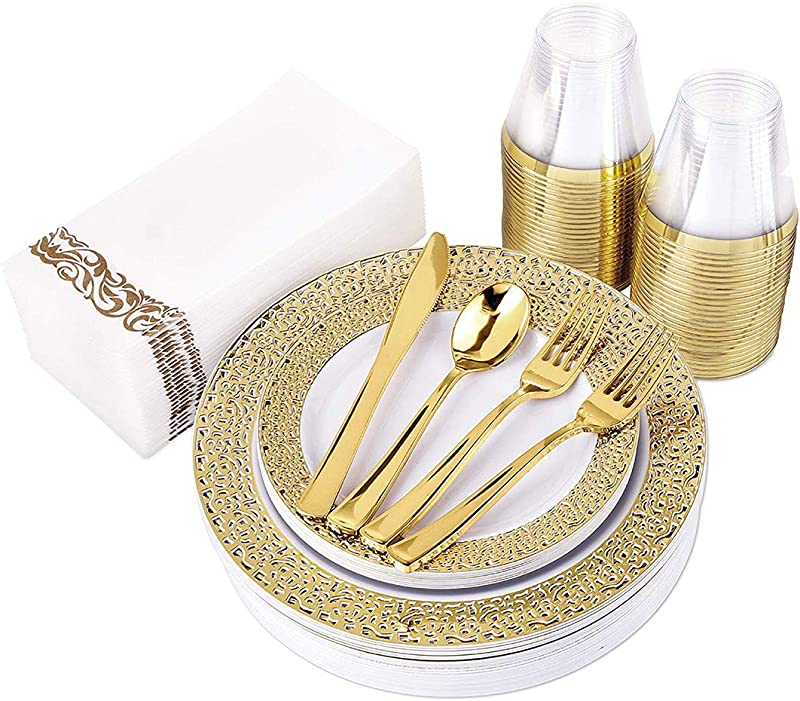 200 Piece Gold Lace Plastic Plates Gold Plastic Cutlery Gold Rim Clear Plastic Cups And Guest Towels Service For 25 Guests Elegant Disposable Dinnerware Set For Wedding Party Holiday