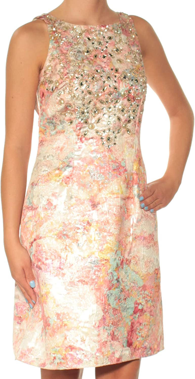 AIDANMATTOX Womens Pink Beaded Floral Sleeveless Jewel Neck Above The Knee Fit + Flare Dress US Size  2