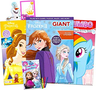 Best Disney MLP Coloring Book Super Set for Girls -- 3 Giant Coloring Books Featuring Disney Princess, Frozen and My Little Pony (Includes Disney Princess Stickers) Review