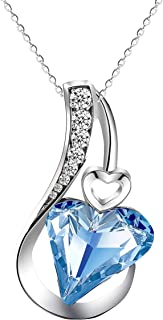 Love Heart Pendant Necklace Birthstone Crystal Jewelry...