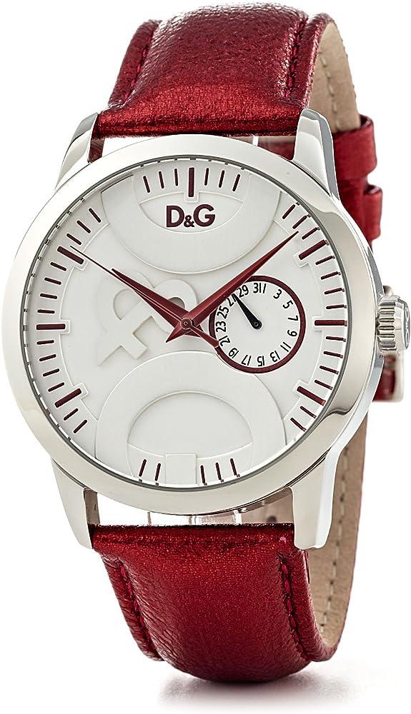 Dolce & gabbana d&g, orologio da polso donna con logo,cassa in acciaio e cinturino in pelle DW0701