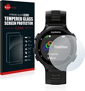 savvies Cristal Templado Compatible con Garmin Forerunner 735XT Protector Pantalla Vidrio Proteccion 9H Pelicula Anti-Huellas
