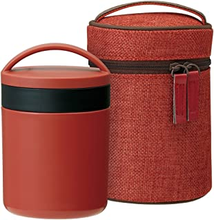 Japanese BENTO-BAKO(lunch box) for soup, Thermal soup jar with Japanese lunch bag,Elegant Plum Red (japan import)