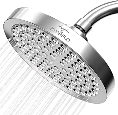 ZYNAFLO High Pressure Rain Shower Head - Large 6-Inch Rainshower Showerhead (Chrome)