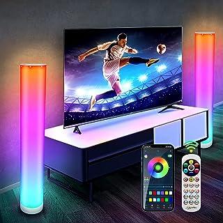 Lampadaire LED Bluetooth, 2 Pièces CGN RGB LED Lampadaire Salon sur Pied Moderne Lampe d'Ambiance Multicolore Dimmable ave...