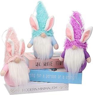 3 Pack Easter Bunny Gnomes, Spring Plush Handmade Rabbit Toys, Tomte Nordic Swedish Elf Dwarf Faceless Doll, Home Ornament...