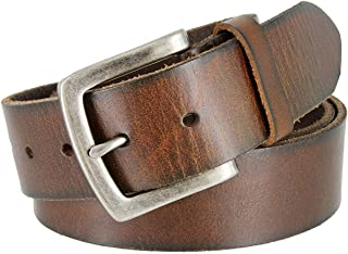Women's Retro Distressed Cracked Darkened Brown Real Leather Buckle Belt