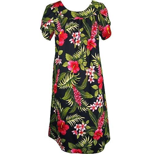 ebdd191e8f81c RJC Women's Maui Hibiscus Rainforest Escape Tea Length Hawaiian Muumuu  House Dress Black Q1X Plus