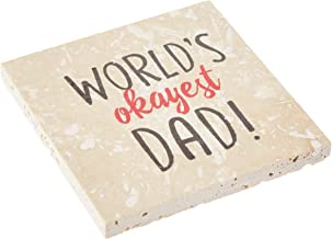 product image for Imagine Design Relatively Funny Family II World's Okayest Dad Travertine Coaster, One Size, Red/Black/White