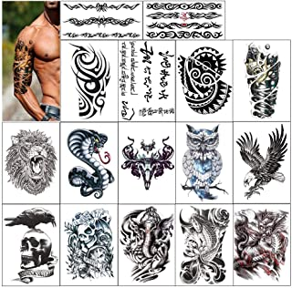 Tatuaje temporal de DonLucancy para hombres para hombre - Konsait Tatuaje temporal extra falso Tatuaje negro