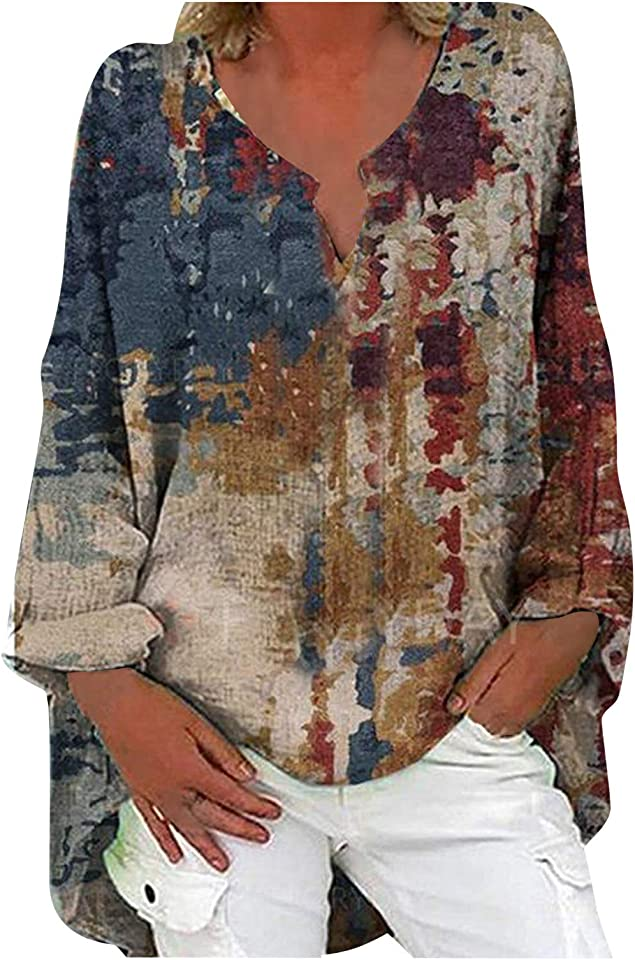 Floral Cotton Linen Tops Long Sleeve t Shirts Women Oversized Ladies Blouses Casual Fashion V-Neck Print Shirt
