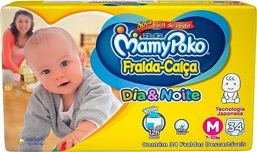 Fralda-Calça Dia & Noite MamyPoko Tamanho M, 34 unidades