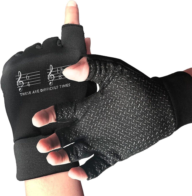 These Are Difficult Times Funny Musician Teacher Non-Slip Driving Gloves Breathable Sunblock Fingerless Gloves For Women Men