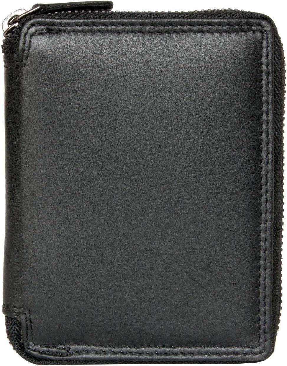 Men's Metal Black Zipper-around (Zip-around) Leather Wallet Kabana